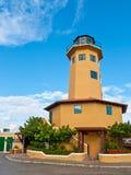 装饰灯塔在博内尔岛 免版税库存照片