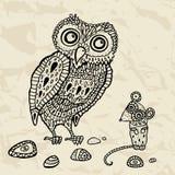 装饰猫头鹰和鼠标。 动画片例证。 库存图片