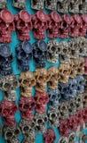 装饰玛雅头骨在海滨del卡门,墨西哥 免版税库存图片