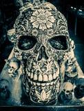 装饰玛雅头骨在海滨del卡门,墨西哥 库存照片