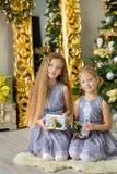 装饰白色绿色圣诞树的圣诞快乐和节日快乐逗人喜爱的小孩女孩户内用很多礼物 图库摄影