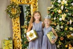 装饰白色绿色圣诞树的圣诞快乐和节日快乐逗人喜爱的小孩女孩户内用很多礼物 免版税库存图片