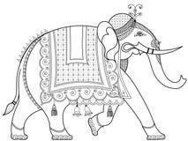 装饰的印度象 向量例证