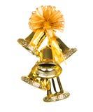 装饰的发光的金黄圣诞节铃声。 库存图片