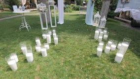 装饰的围场的HD射击婚礼的全部在白色 股票视频