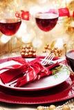 装饰的圣诞晚餐表 库存照片