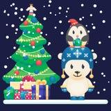 装饰的圣诞树和礼品 逗人喜爱的北极熊和小的滑稽的企鹅导航在平的样式的五颜六色的例证 免版税库存图片