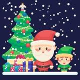 装饰的圣诞树和礼品 逗人喜爱的圣诞老人和小的滑稽的矮子导航在平的样式的五颜六色的例证 库存照片
