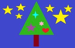 装饰的圣诞树在圣诞夜 免版税图库摄影