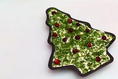 装饰的圣诞树奶油芝士和草本党垂度 免版税库存照片