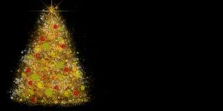 装饰的圣诞树由发光的星和闪闪发光做成 库存照片