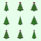 装饰的圣诞树的汇集 平的样式例证 免版税库存图片