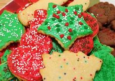 装饰的圣诞节曲奇饼 库存照片