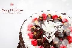 装饰的圣诞节蛋糕。 免版税图库摄影