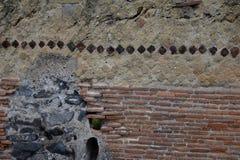 装饰的墙壁,赫库兰尼姆考古学站点,褶皱藻属,意大利 图库摄影