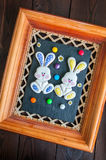 装饰的复活节兔子曲奇饼 免版税库存照片