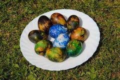 装饰的复活节彩蛋 库存照片