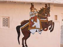 装饰的外在墙壁在乌代浦,印度 库存图片