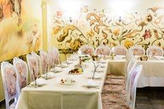 装饰的宴会桌设置 免版税图库摄影