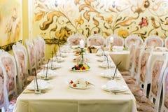 装饰的宴会桌设置 免版税库存图片