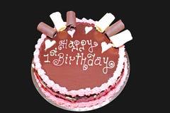 装饰的巧克力生日蛋糕 库存照片