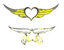 装饰的心脏和星 免版税库存图片