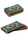 装饰的木小箱。 免版税库存照片
