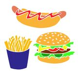装饰的横幅,飞行物, po手拉的快餐产品 皇族释放例证