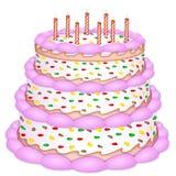 装饰的生日蛋糕 向量例证