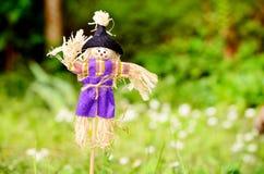装饰的穿戴的稻草人在一个绿色春天庭院里 库存照片