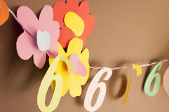 装饰的第六个生日 免版税库存照片