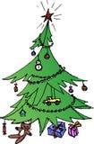 装饰的绿色圣诞树 免版税库存照片