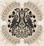 装饰的老鹰花卉纹章学装饰品 库存例证