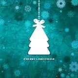 装饰的蓝色圣诞树。EPS 8 免版税库存图片
