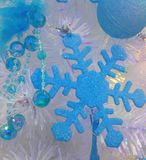 装饰的蓝色雪花 库存图片