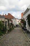 装饰的街道在老镇在斯塔万格,挪威 库存图片