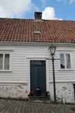 装饰的街道在老镇在斯塔万格,挪威 免版税图库摄影
