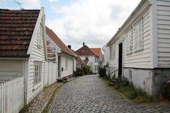 装饰的街道在老镇在斯塔万格,挪威 库存照片