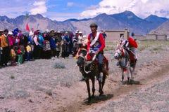 装饰的车手在西藏 库存照片