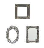 在被隔绝的ba的装饰的银色画框集合 免版税库存照片