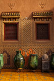 装饰的门面 瓦尔扎扎特 摩洛哥 免版税图库摄影