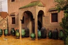 装饰的门面 瓦尔扎扎特 摩洛哥 图库摄影