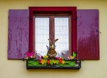 装饰的经典之作在老房子里alsacien窗口 免版税库存图片