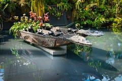 装饰的水池在bootanical滨海湾公园 库存图片