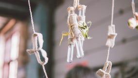 装饰的玻璃小瓶在boho样式 在事件的玻璃装饰 葡萄酒玻璃烧瓶 浅的重点 库存图片