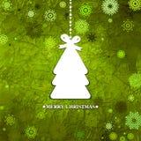 装饰的绿色圣诞树。EPS 8 免版税图库摄影