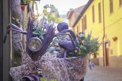 装饰的紫色妇女自行车在城市 库存照片