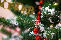 装饰的Chrismas树,杉木,新年2019年,chrismas lighs特写镜头 库存图片