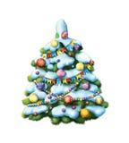 装饰的Christmass树。 积雪的树 库存照片