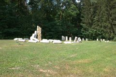 装饰石头螺旋雕塑 图库摄影